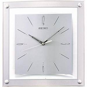 Seiko square silver wall clock qxa330s for Square silver wall clock