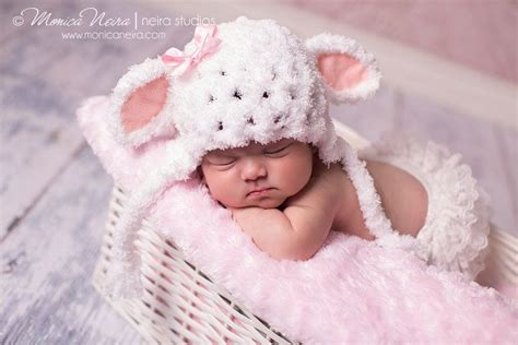 baby girl hat newborn photo prop  lamb hat