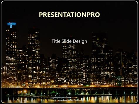 city night lights powerpoint template background