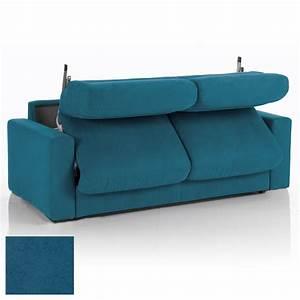 Canape convertible 3 places tissu dehoussable bleu for Tapis persan avec canapé 3 places lit