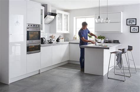 Kitchen Ideas B And Q by It Santini Gloss White Slab Fitted Kitchens Diy At B Q