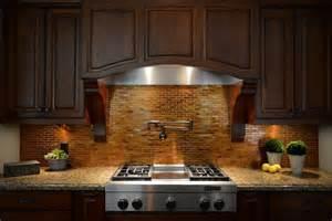 kitchen backsplash copper tiles pot filler