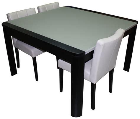 table carree en verre table de repas carr 233 e avec angles arrondis 1 allonge en bout ch 234 ne weng 233 noir verre mat