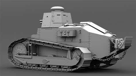 french renault tank renault ft17 french light tank 3d model fbx ma mb