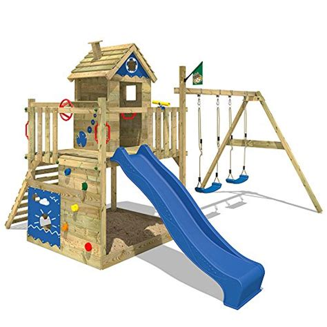 kinderspielhaus mit sandkasten wickey spielturm smart lodge kletterturm baumhaus garten mit spielhaus doppelschaukel gro 223 em