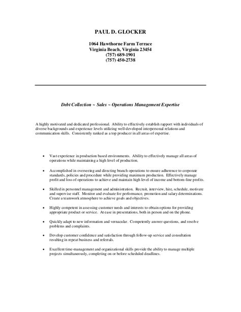 Resume Objective For Debt Collector by Paul Resume 1