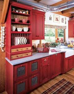 25 best ideas about red cabinets on pinterest red for Kitchen colors with white cabinets with country canvas wall art