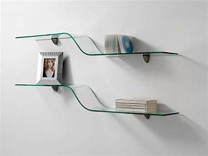 Shelf In Curved Glass Wave