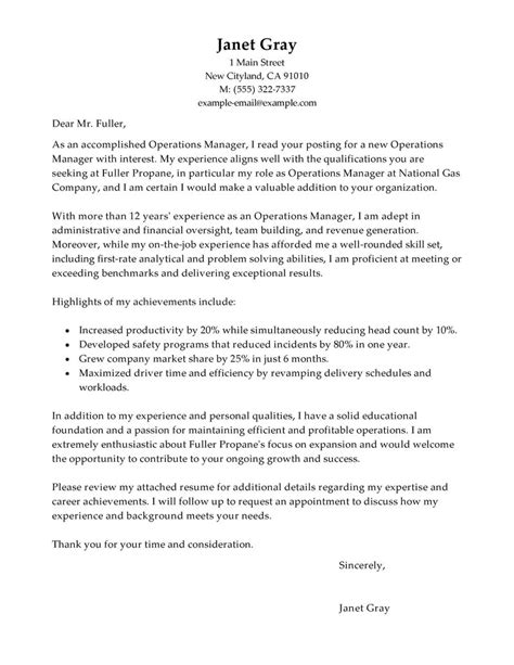 operations manager cover letter examples management cover letter samples livecareer