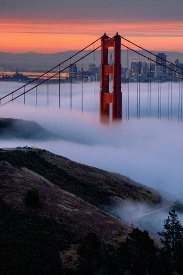 paradise sunrise  fog golden gate bridge san