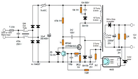 Switch Mode Power Supply Smps Schematic Transformer