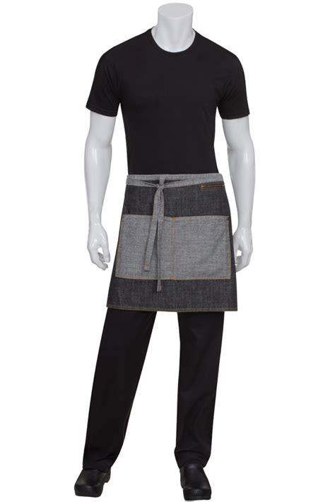 kitchen knives block black denim half bistro apron