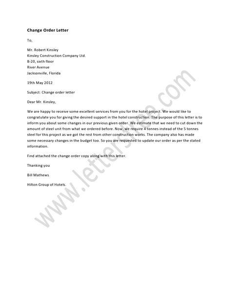 change order letter order letter sample pinterest