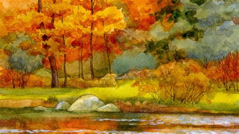 Autumn Wallpapers Watercolor by Autumn River Watercolor Wallpaper Allwallpaper In 8073