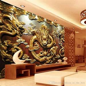 Custom 3d Wallpaper Wood Carving Dragon Photo Wallpaper ...