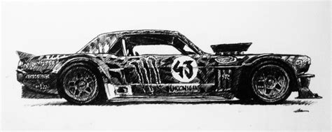 drawing  ken blocks mustang hoonicorn autos