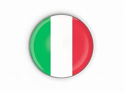 Italy Round Button Flag Metal Icon Frame