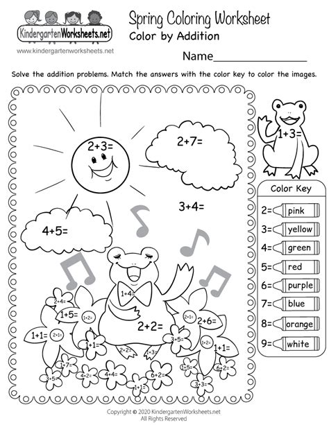 spring color  addition worksheet  kindergarten