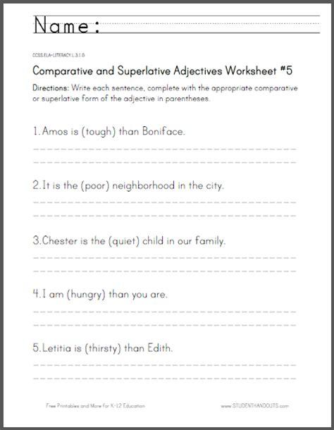 comparative and superlative adjectives worksheet 5 for