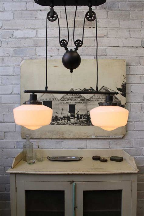 Kitchen Pulley by Great Style Pulley Light With Two Schoolhouse Shades