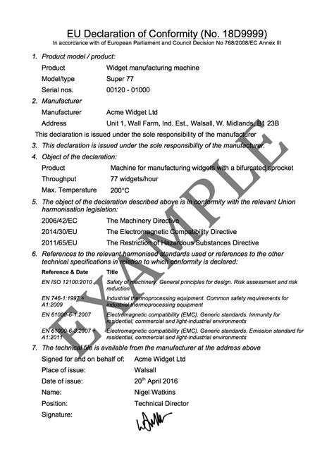 ce self certification template ec declaration of conformity template images template