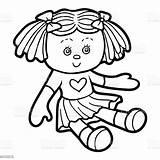 Doll Coloring Children Vector Illustration Cartoon Illustrations Vectors Clipart Clip sketch template