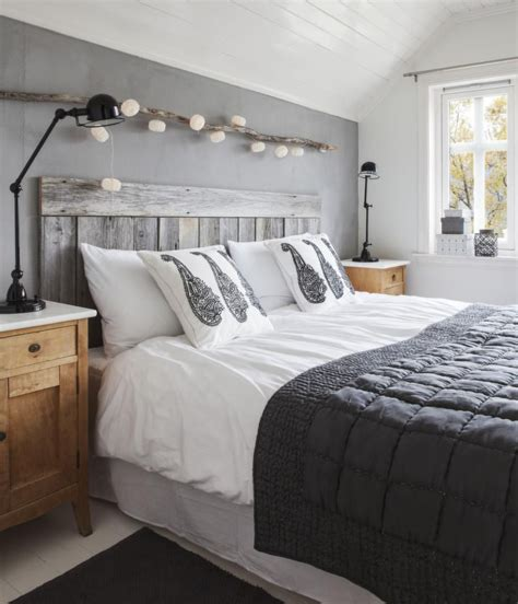 driftwood art rustic wood headboard  grey black white bedroom home sweet home   scandinavian bedroom norwegian house wood headboard