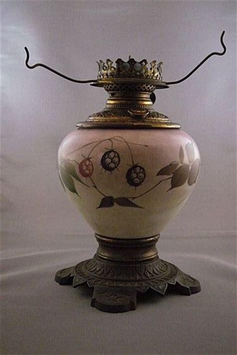 antique hand painted victorian oil kerosene lamp