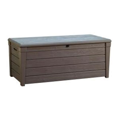 keter deck box keter brightwood 120 gal deck box in taupe 213273 the