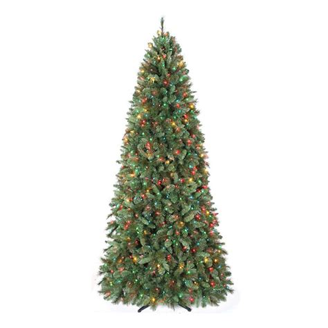 pre lit multi color led slim christmas tree 9 ft pre lit multi colored light aspen mountain slim pine artificial tree shop your