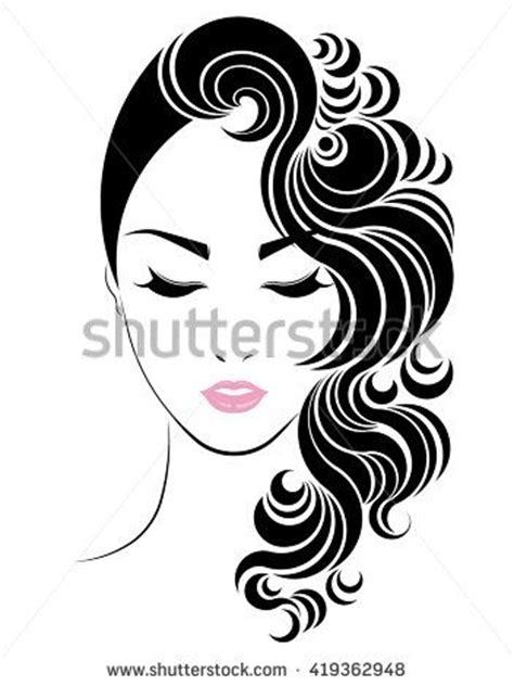 Long Hair Style Icon, Logo Women Face On White Background