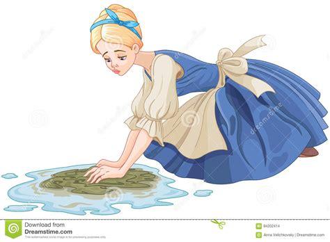 Sad Cinderella Cleaning The Floor Vector Illustration