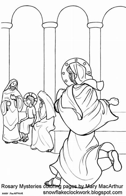 Coloring Temple Mysteries Joyful Finding Pages Rosary