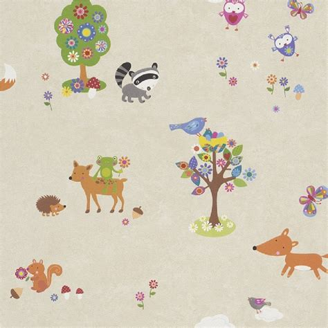 Childrens Animal Wallpaper - rasch bambino woodland creatures animals childrens nursery