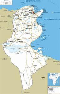 Road Map of Tunisia - Ezilon Maps