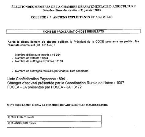 chambre agriculture isere elections chambres d agriculture résultats complets en