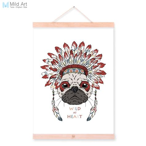 Get it as soon as wed, mar 31. Pug Dog Head Ancient Indian Animals Red Feather A4 Wooden Framed Canvas Painting Wall Art Print ...