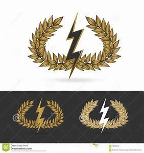 Olive Branch With Thunder Symbol Of Greek God Zeus Stock ...