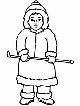 Coloring Inuit Eskimo Pages Boy Stick Holding Thin Template Sketch sketch template