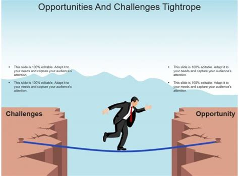 Opportunities And Challenges Tightrope Powerpoint Slide