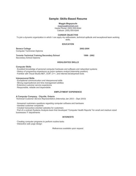 How To Write A Personal Skills In Resume by Skills Based Resume Template Health Symptoms And Cure
