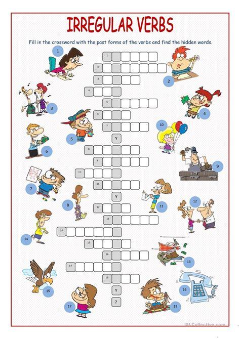 irregular verbs crossword puzzle worksheet  esl