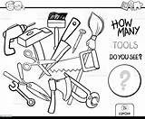 Coloring Tools Counting Activity Axe Vector Illustration Broom Cartoon sketch template