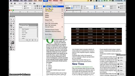 Indesign Adding Tables Table Styles