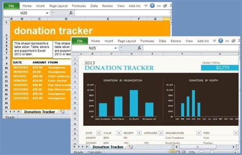 donation tracking templates  excel