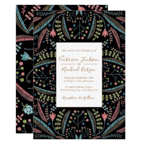 embroidery floral wedding invitations zazzlecom