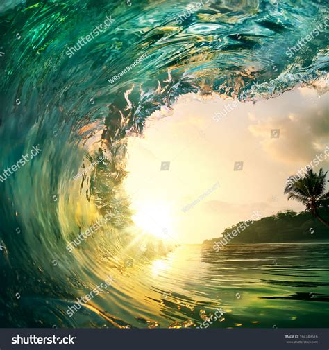Tropical Sunset Background Beautiful Colorful Ocean Wave