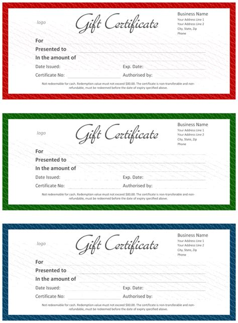 official gift certificate template  word