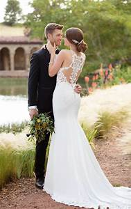 Simple lace wedding gown essense of australia wedding gowns for What wedding dress is right for me