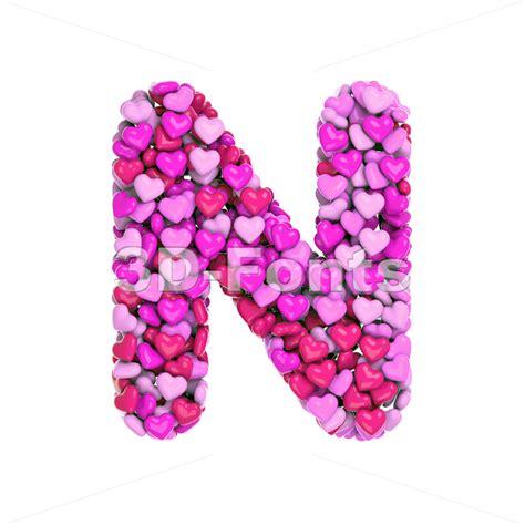 Love Font N  Capital Letter On White Background